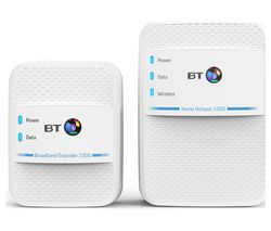 BT Home Hotspot 1000 WiFi Powerline Adapter Kit - Twin Pack