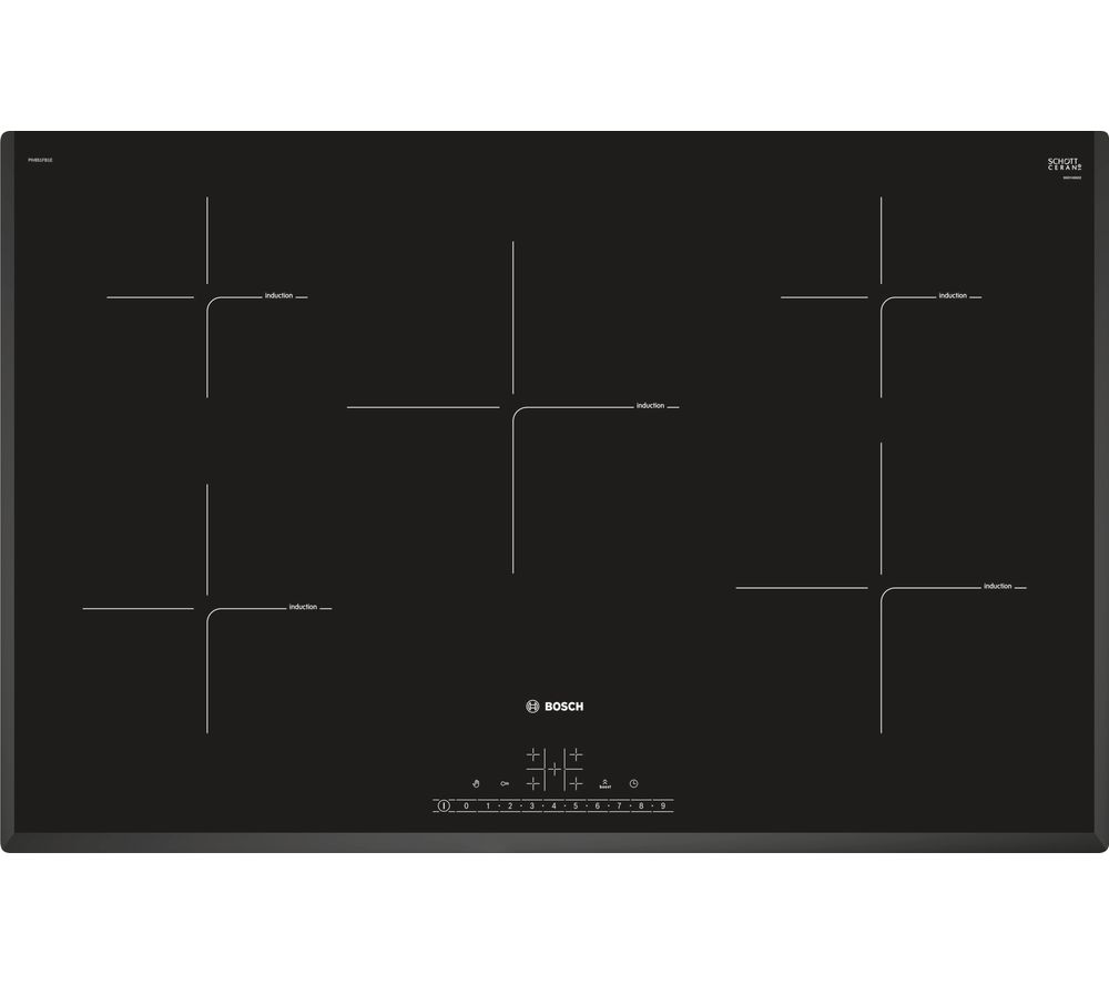 Buy bosch piv851fb1e electric induction hob black free for Table induction 90 cm