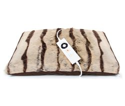 DREAMLAND Relaxwell Luxury Heated Faux Fur Cushion - Brown Stripes