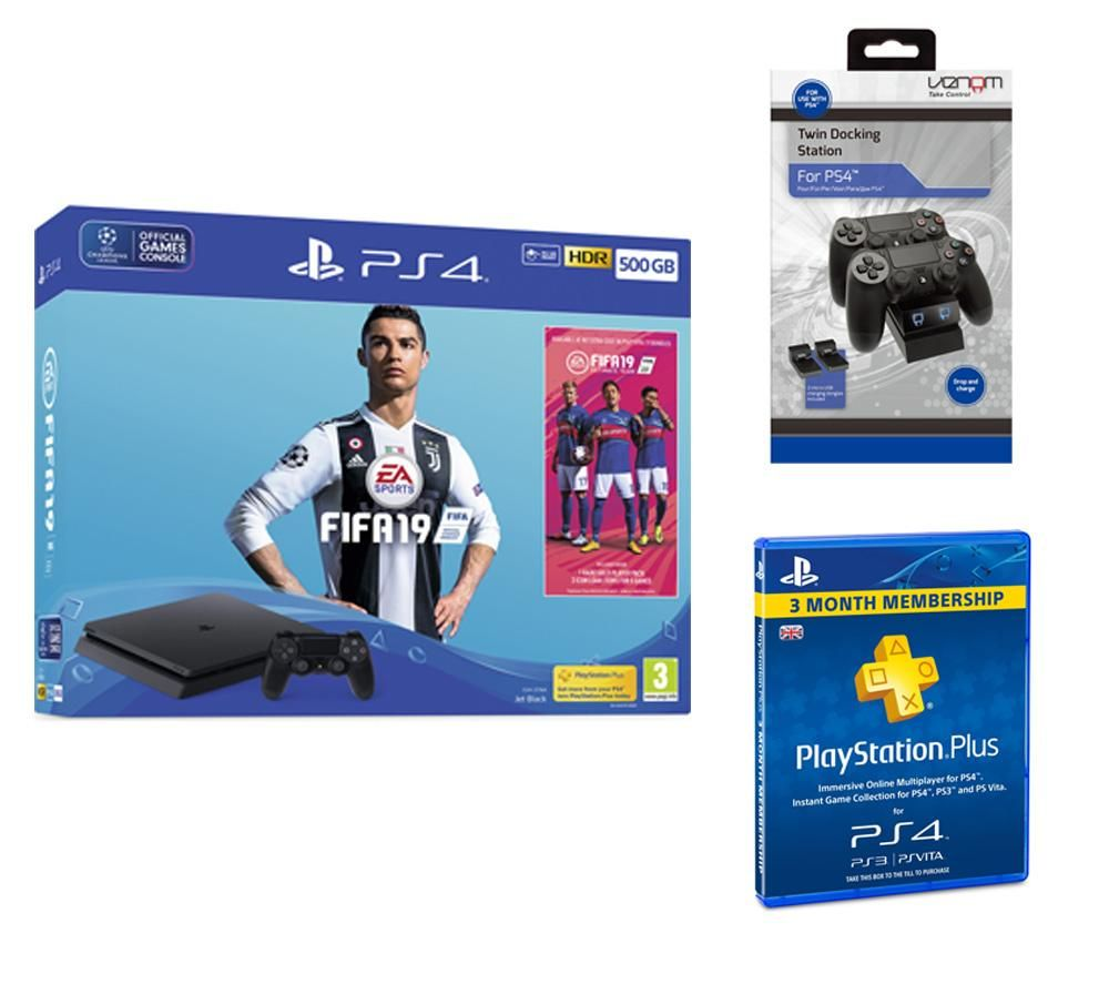 SONY PlayStation 4 500 GB with FIFA 19, Twin Docking Station & PlayStation Plus 3 Month Bundle