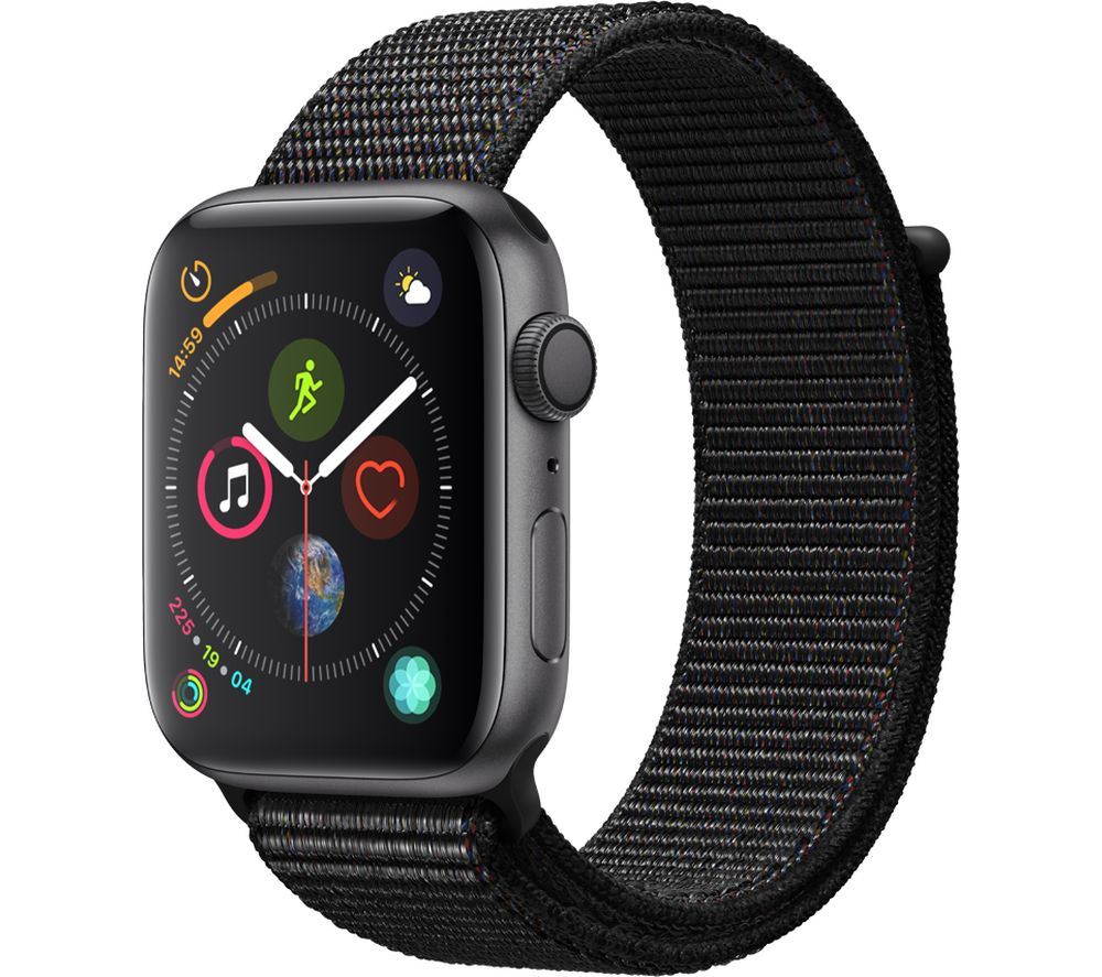 APPLE Watch Series 4 - Space Grey & Black Sports Loop, 44 mm