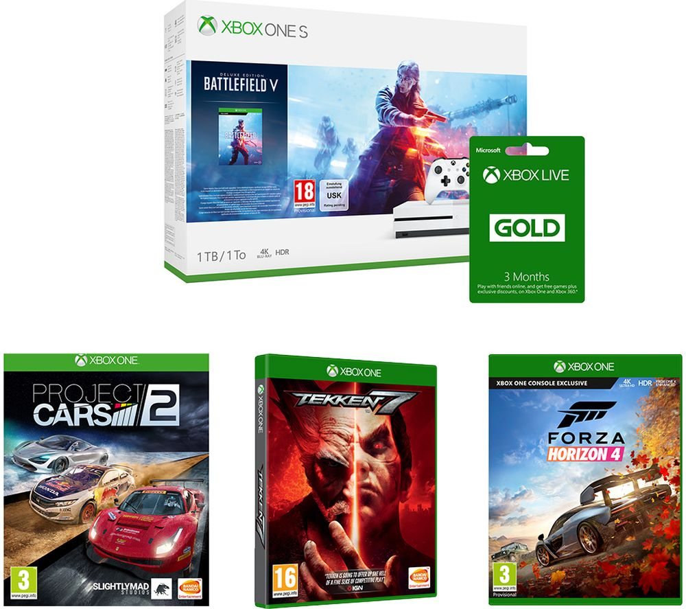 Image of MICROSOFT Xbox One S, Battlefield V, Tekken 7, Forza Horizon 4, Project Cars 2 & Xbox LIVE Gold Bundle, Gold