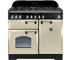 RANGEMASTER Classic Deluxe CDL100DFFCR/C 100 cm Dual Fuel Range Cooker - Cream & Chrome