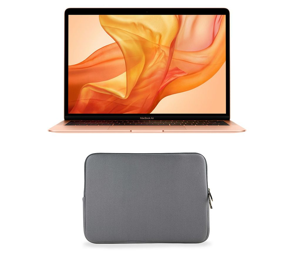 "APPLE MacBook Air 13.3"" with Retina Display (2018) & Grey Laptop Sleeve Bundle - 128 GB SSD, Gold"