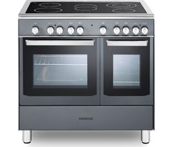 KENWOOD CK418SL 90 cm Electric Ceramic Range Cooker - Slate Grey & Chrome Best Price, Cheapest Prices