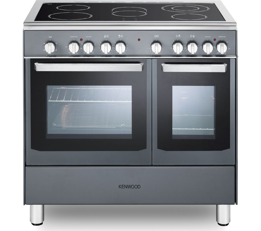 KENWOOD CK418SL 90 cm Electric Ceramic Range Cooker - Slate Grey & Chrome