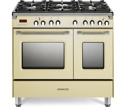 KENWOOD CK435CR 90 cm Dual Fuel Range Cooker - Cream & Stainless Steel Best Price, Cheapest Prices