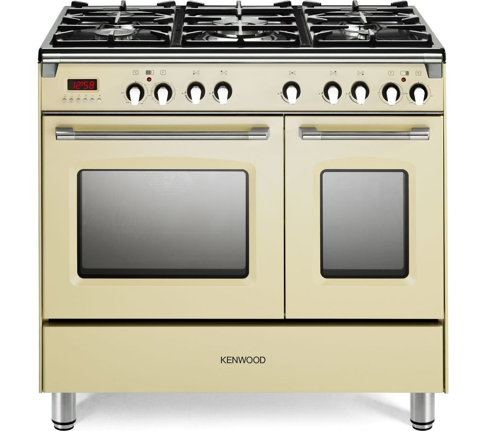 Image of CK435CR 90 cm Dual Fuel Range Cooker - Cream & Stainless Steel, Stainless Steel