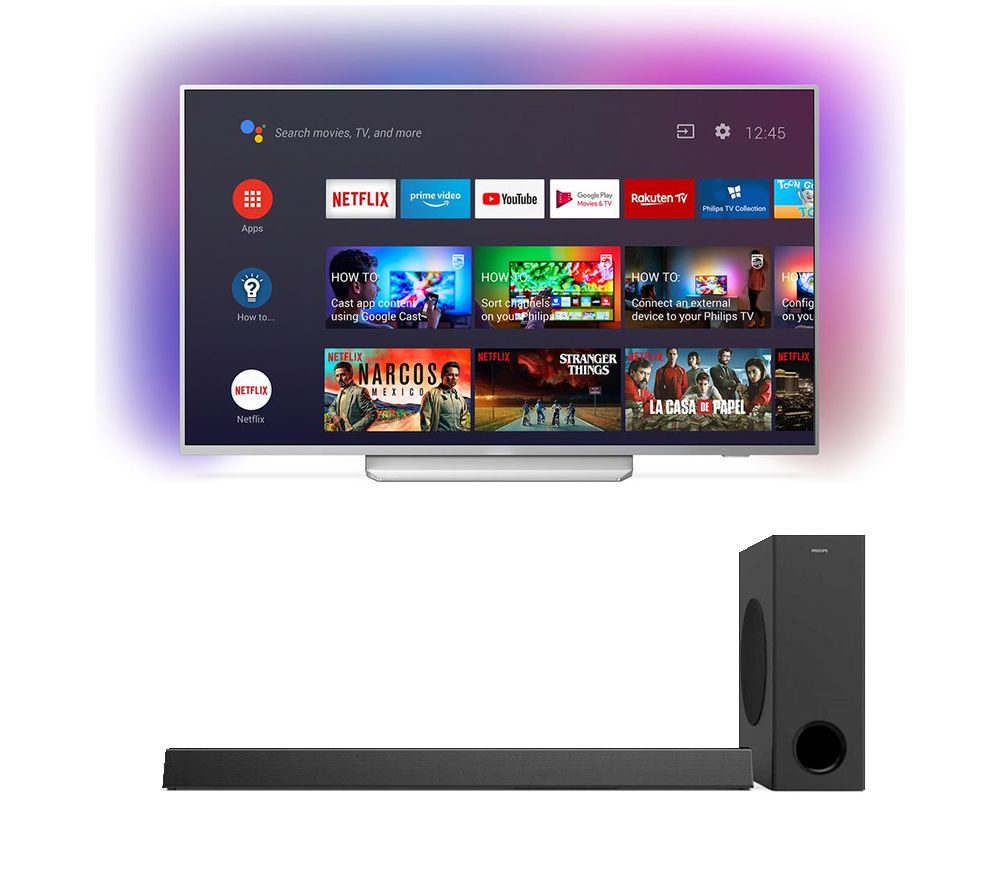 "Image of 55"" PHILIPS Ambilight 55PUS8204/12 Smart 4K Ultra HD HDR LED TV & HTL3320 3.1 Wireless Sound Bar Bundle"