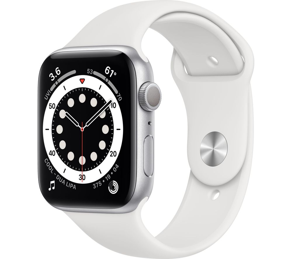 APPLE Watch Series 6 - Silver Aluminium with White Sports Band, 44 mm