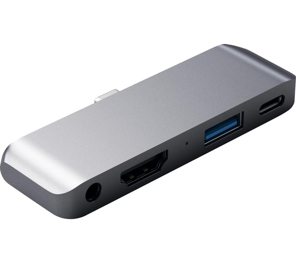 Image of SATECHI Aluminum Mobile Pro Hub 4-port USB-C Connection Hub – Space Grey, Grey