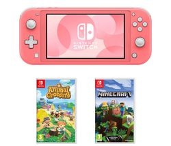 Switch Lite, Animal Crossing: New Horizons & Minecraft Bundle - Coral