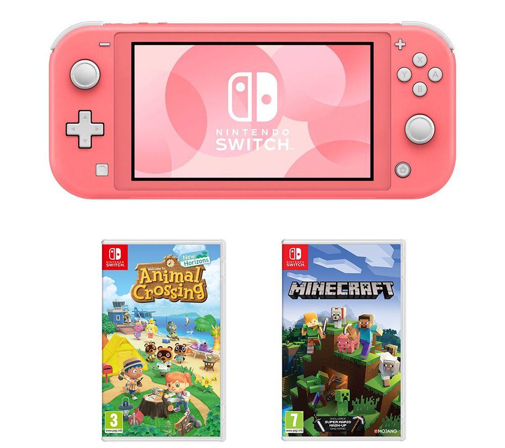 NINTENDO Switch Lite, Animal Crossing: New Horizons & Minecraft Bundle - Coral