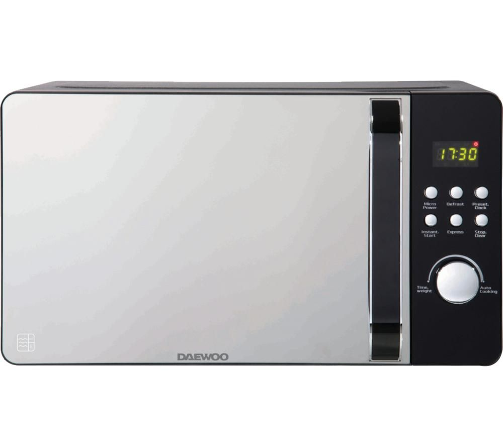 Daewoo Glace Noir Sda2033 Solo Microwave Black Silver Black