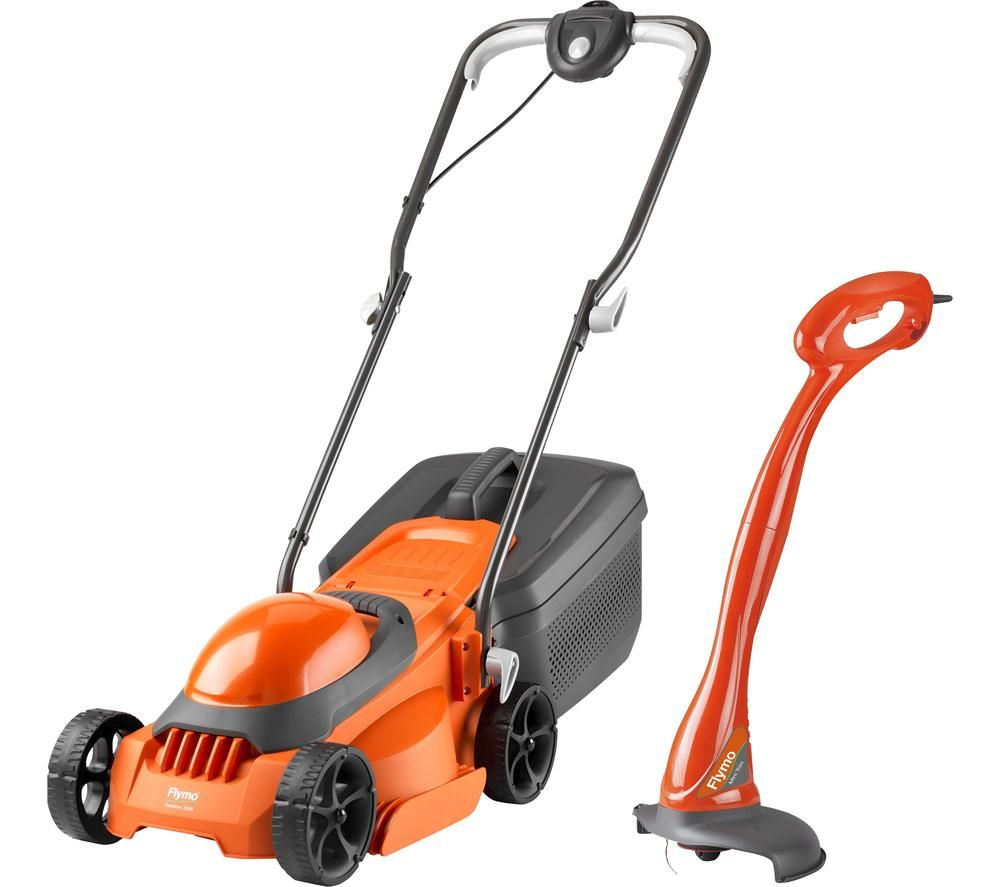 FLYMO EasiMow 300R Corded Rotary Lawn Mower & Grass Trimmer Pack - Orange