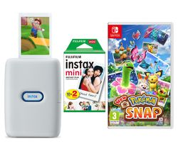 INSTAX mini Link Photo Printer Special Edition with Mini Film & Nintendo Switch New Pokémon Snap Bundle