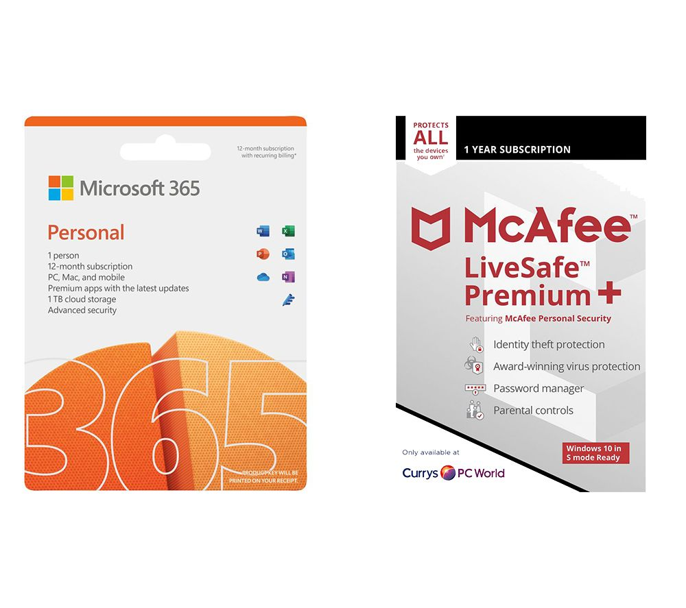 MICROSOFT 365 Personal (1 year for 1 user) & LiveSafe Premium (1 year for unlimited devices) Bundle