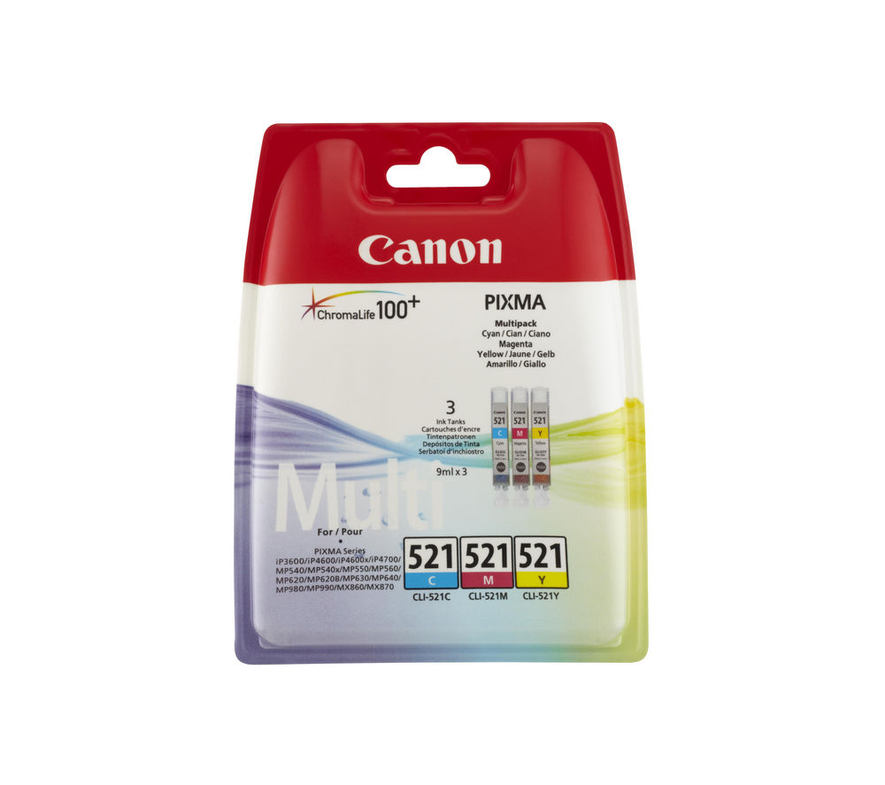 Compare prices for Canon CLI-521 Cyan Magenta and Yellow Ink Cartridges Multipack