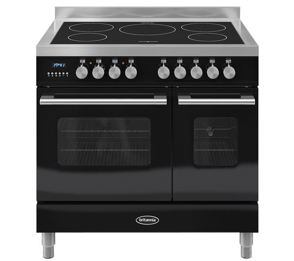 BRITANNIA Delphi 90 RC9TIDEK Electric Induction Range Cooker - Gloss Black & Stainless Steel
