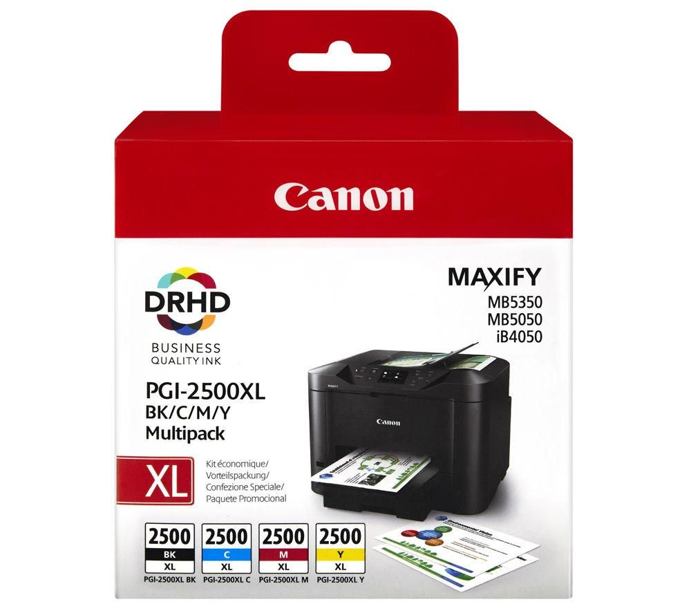 Compare retail prices of Canon Canon PGI-2500XL Black Cyan Magenta and Yellow Ink Cartridges Multipack to get the best deal online