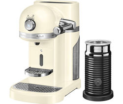 NESPRESSO by KitchenAid Artisan 5KES0504BAC Coffee Machine with Aeroccino 3 - Almond Cream