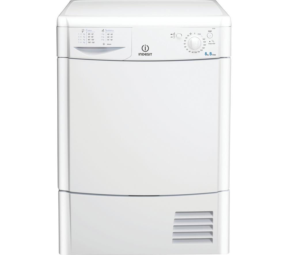 INDESIT Ecotime IDC8T3B Condenser Tumble Dryer – White + DFS05X10W Slimline Dishwasher - White