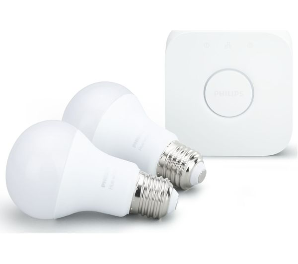 philips hue white smart bulb starter kit e27 fast delivery currysie. Black Bedroom Furniture Sets. Home Design Ideas