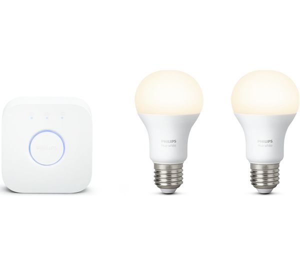 buy philips hue white smart bulb starter kit e27 free delivery currys. Black Bedroom Furniture Sets. Home Design Ideas