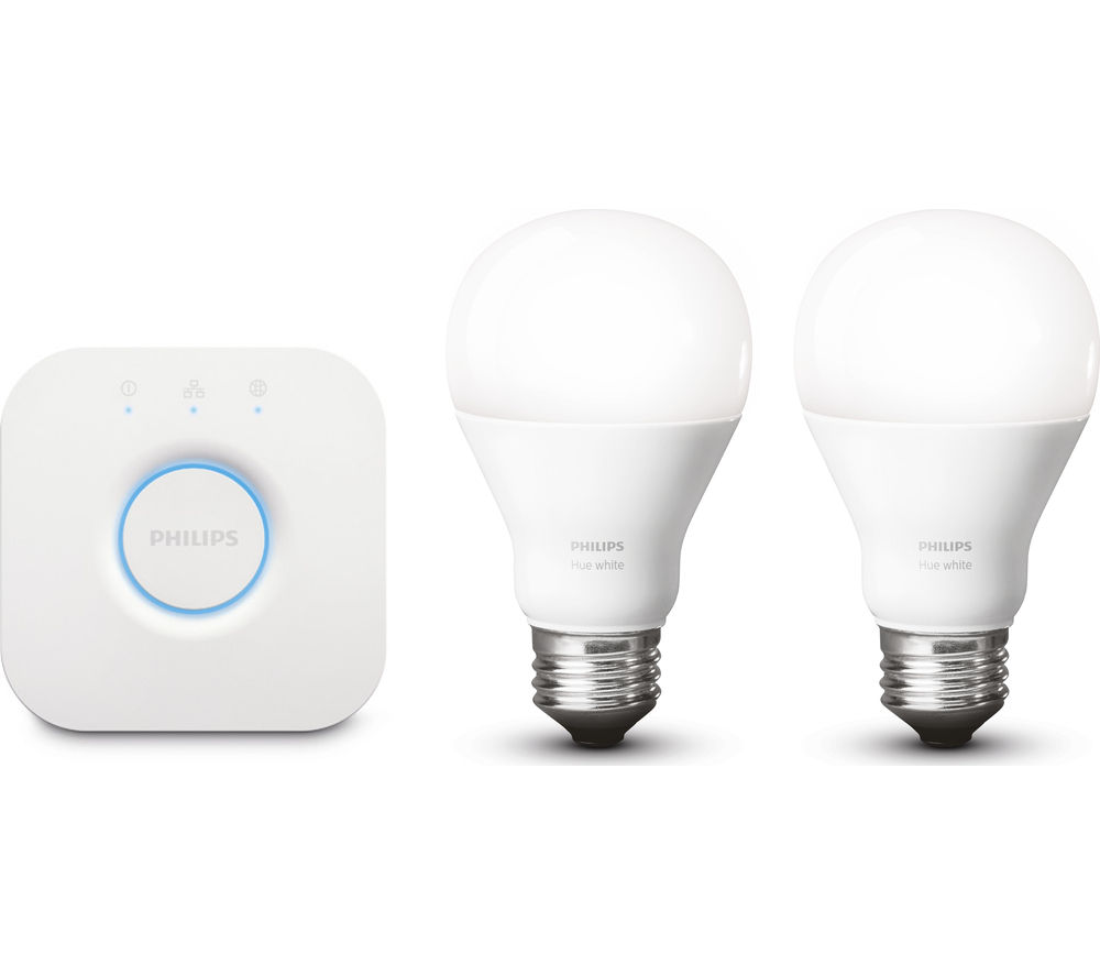 PHILIPS Hue White Wireless Smart Bulbs Starter Kit - E27