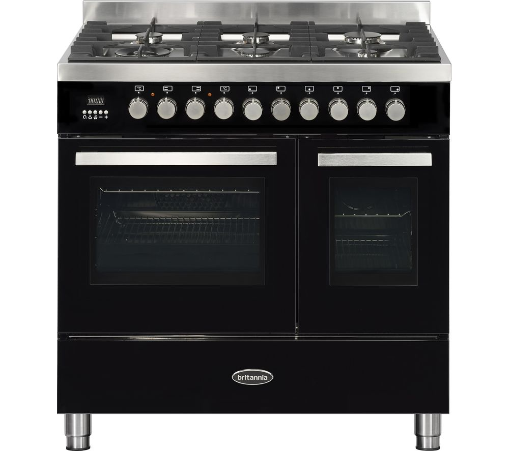 BRITANNIA Sonetto 90DF TC Dual Fuel Range Cooker - Black & Stainless Steel
