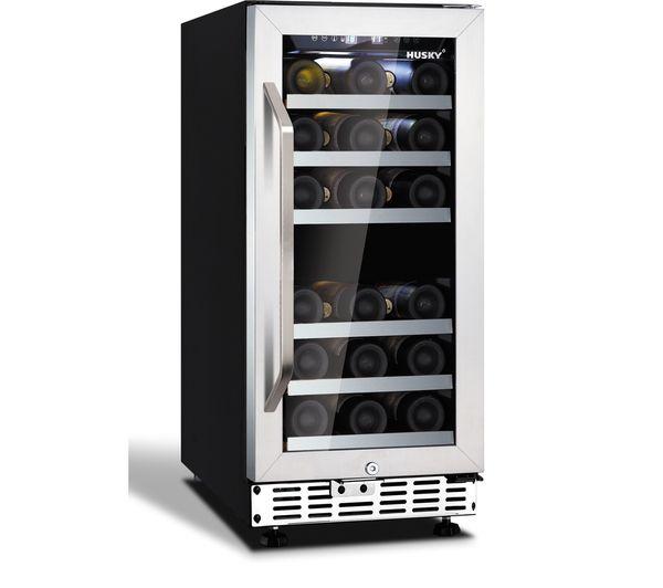 Image of HUSKY HUS-ZY4-D-SS-26 Wine Cooler - Black & Silver