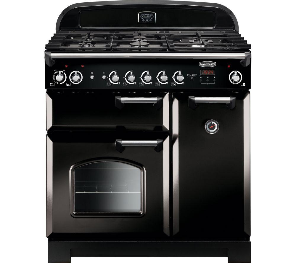 RANGEMASTER Classic CLA90DFFBL/C 90 cm Dual Fuel Range Cooker - Black & Chrome
