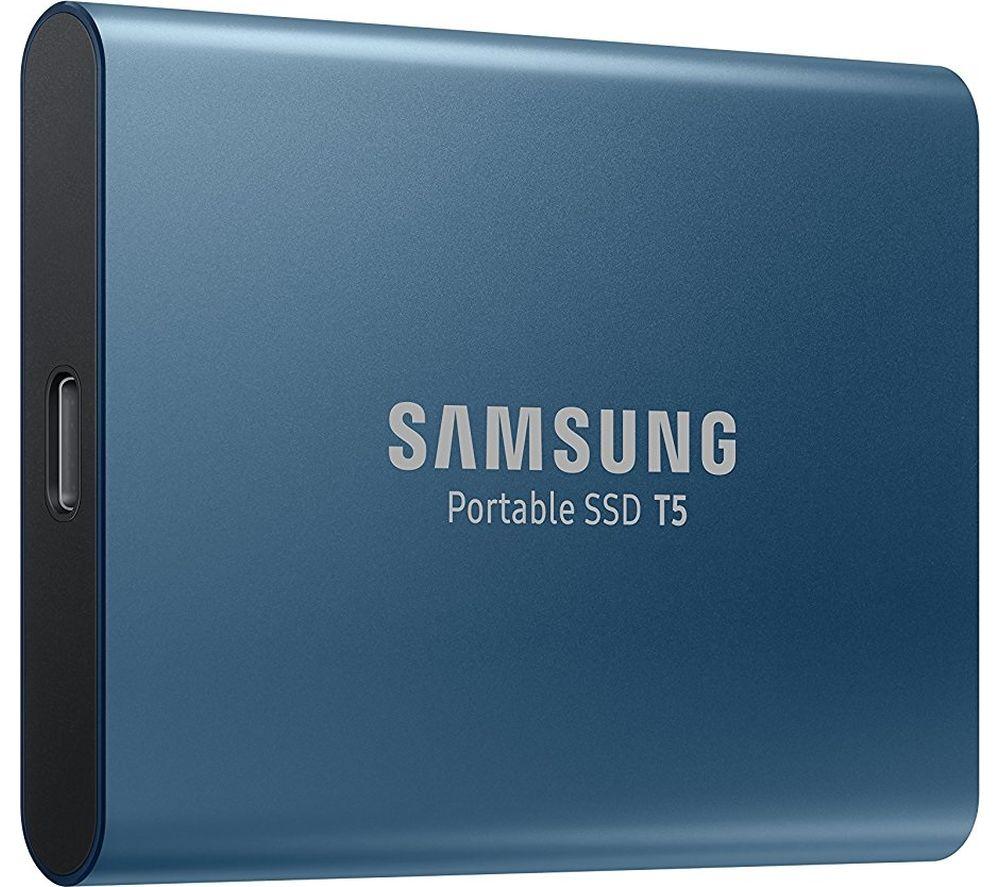 SAMSUNG T5 External SSD - 250 GB, Blue