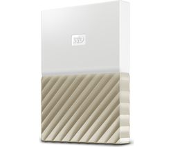 WD My Passport Ultra Portable Hard Drive - 1 TB, White & Gold