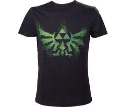 NINTENDO Legend of Zelda Green Triforce Logo T-Shirt - Small, Black