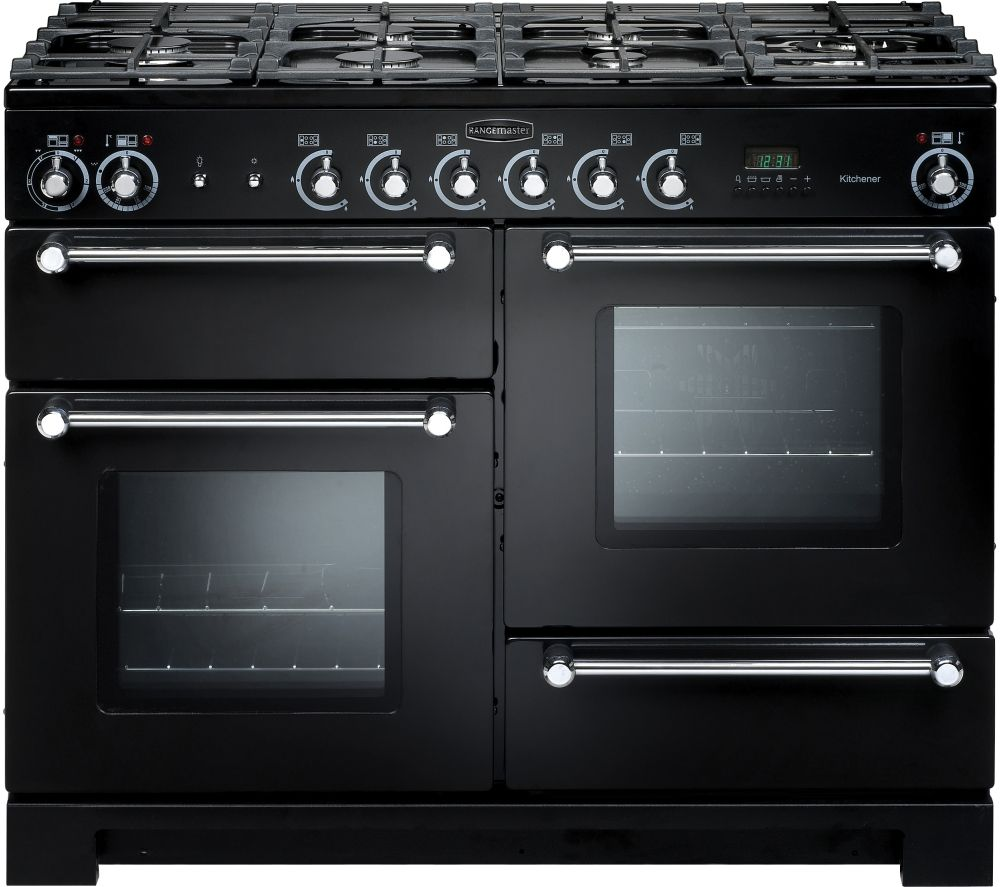 RANGEMASTER Kitchener 110 cm Dual Fuel Range Cooker – Black & Chrome, Black