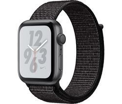 APPLE Watch Series 4 Nike+ - Space Grey & Black Sports Band, 44 mm