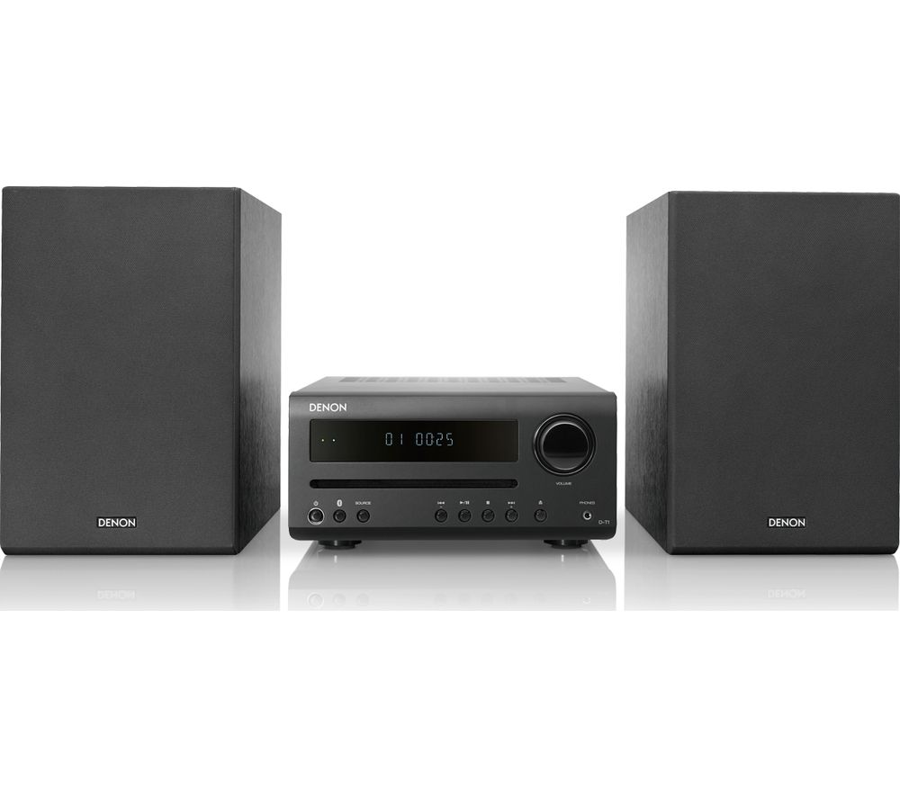 Image of DENON DT-1 Bluetooth Traditional Hi-Fi System - Black, Black