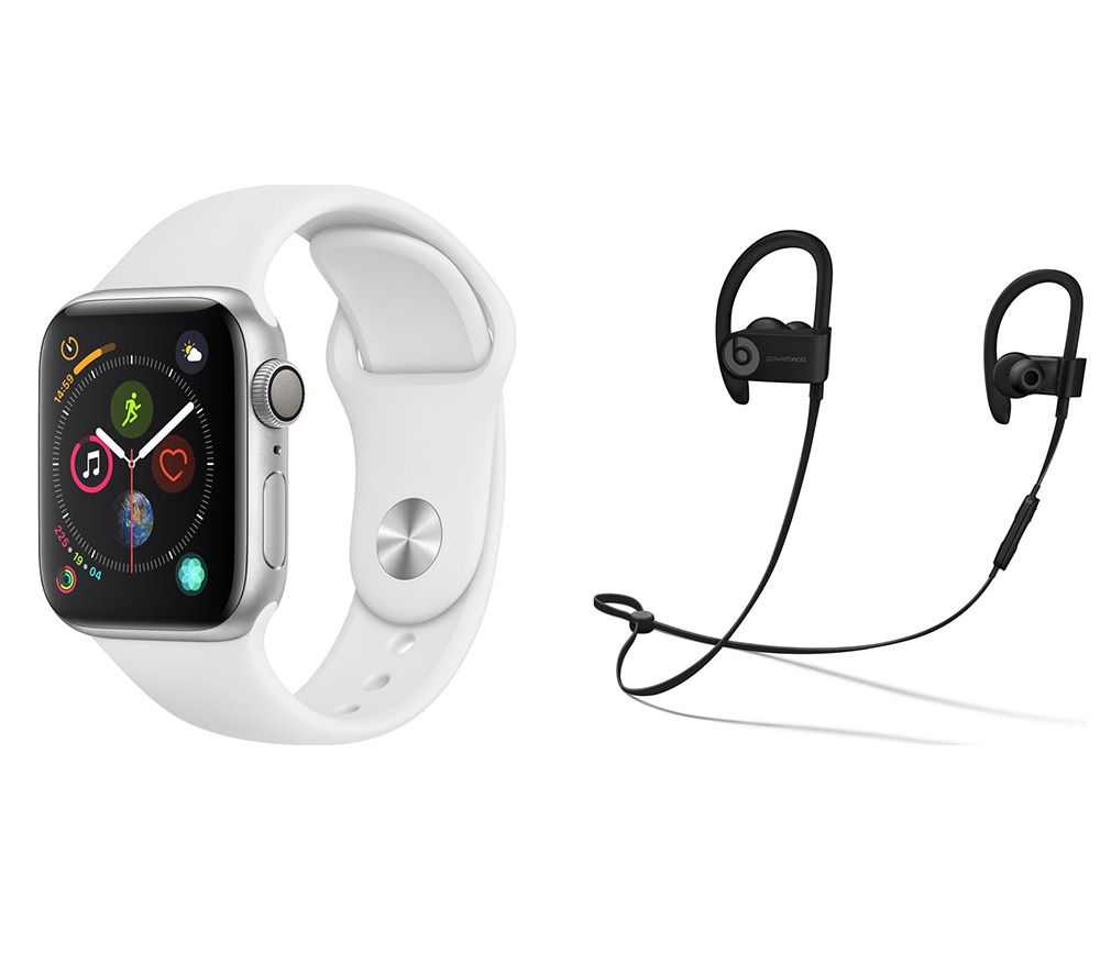 APPLE Watch Series 4 & Powerbeats3 Wireless Bluetooth Headphones Bundle - Silver & White Sports Band, 40 mm, Silver cheapest retail price