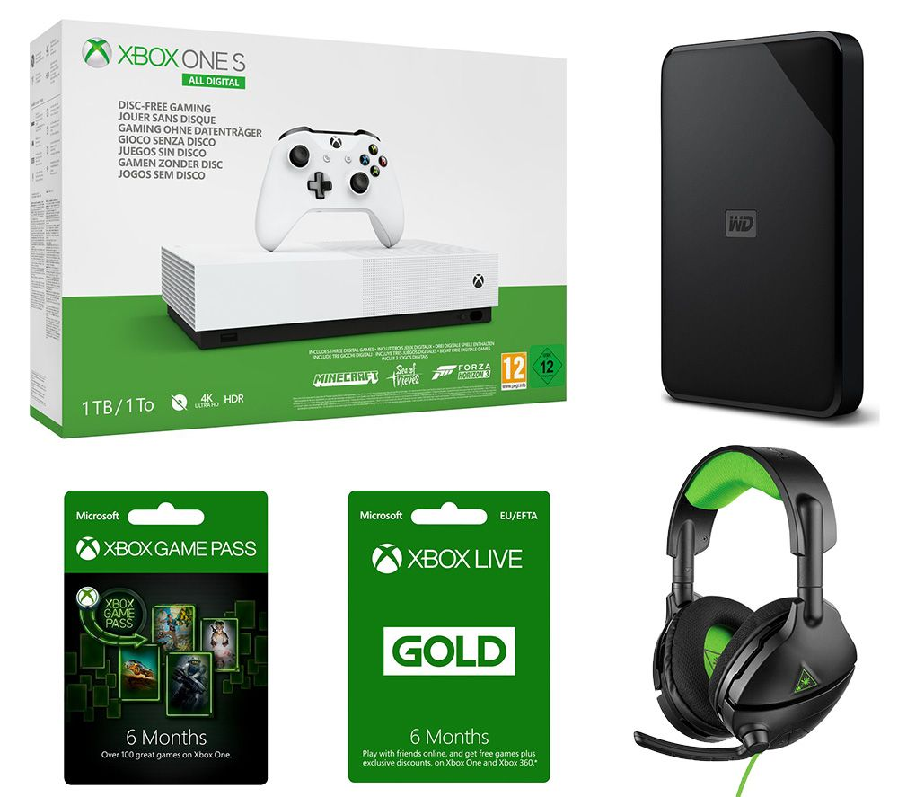 MICROSOFT Xbox One S All-Digital Edition with Minecraft, Forza Horizon 3, Sea of Thieves, Xbox LIVE Gold Subscriptions, Game Pass, Hard Drive & Headset Bundle