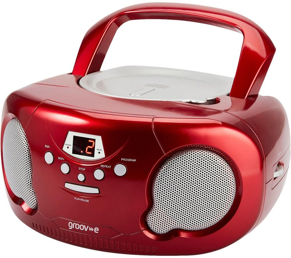 Image of GROOV-E Original Boombox GV-PS733 Portable FM/AM Boombox - Red, Red