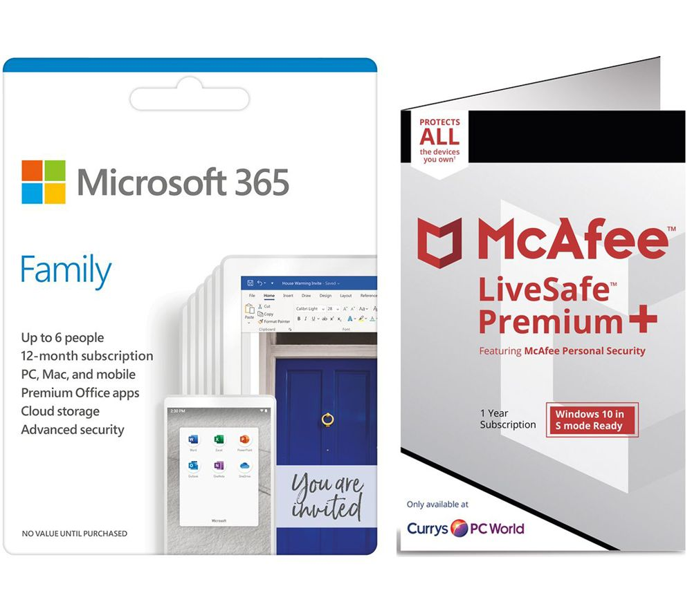 Image of MICROSOFT 365 Family for 6 Users & McAfee LiveSafe Premium 2020 for Unlimited Users Bundle - 1 year