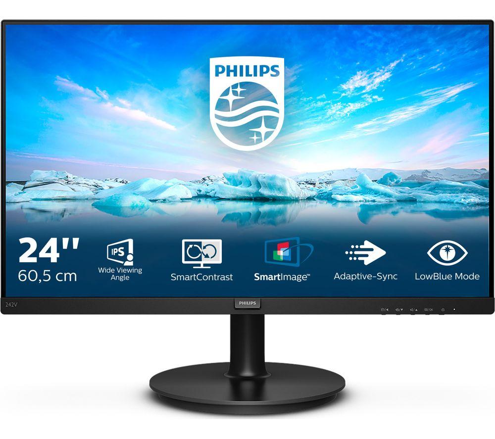 "Image of PHILIPS 242V8A Full HD 23.8"" LCD Monitor - Black, Black"