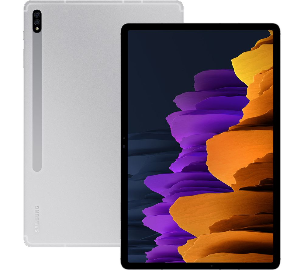 "Image of SAMSUNG Galaxy Tab S7 Plus 12.4"" Tablet - 128 GB, Mystic Silver, Silver"