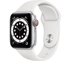 Watch Series 6 Cellular - Silver Aluminium with White Sports Band, 44 mm