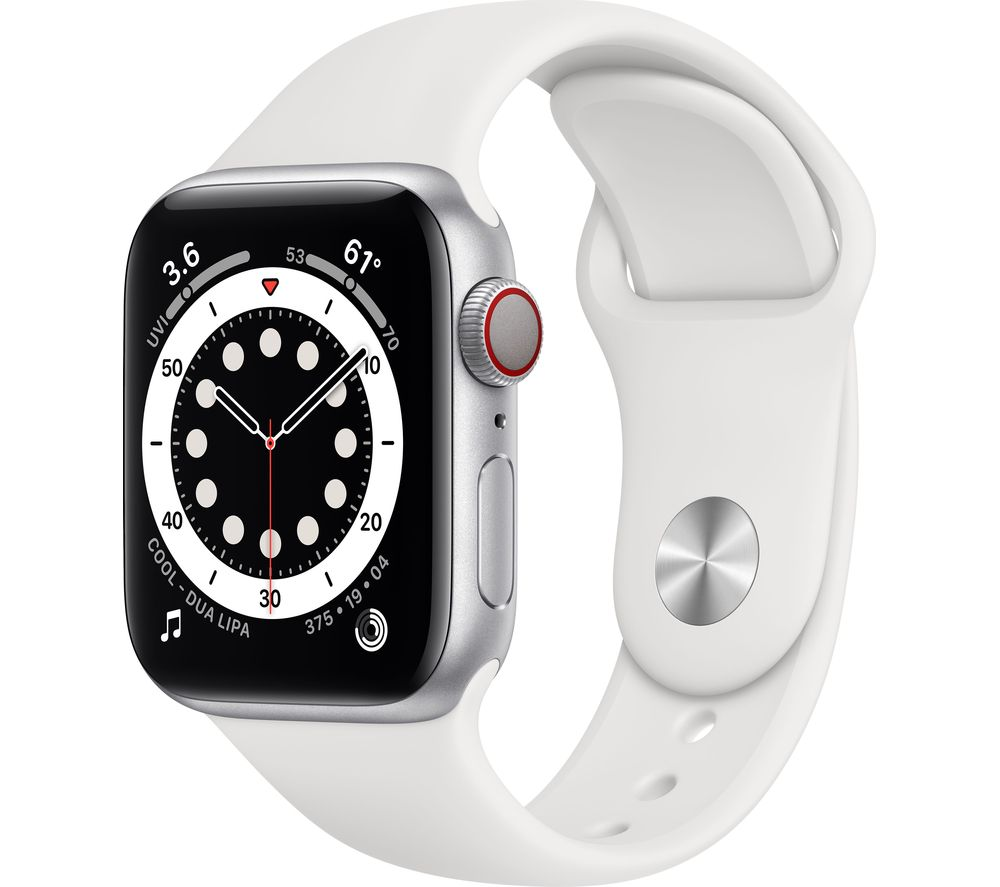 APPLE Watch Series 6 Cellular - Silver Aluminium with White Sports Band, 44 mm