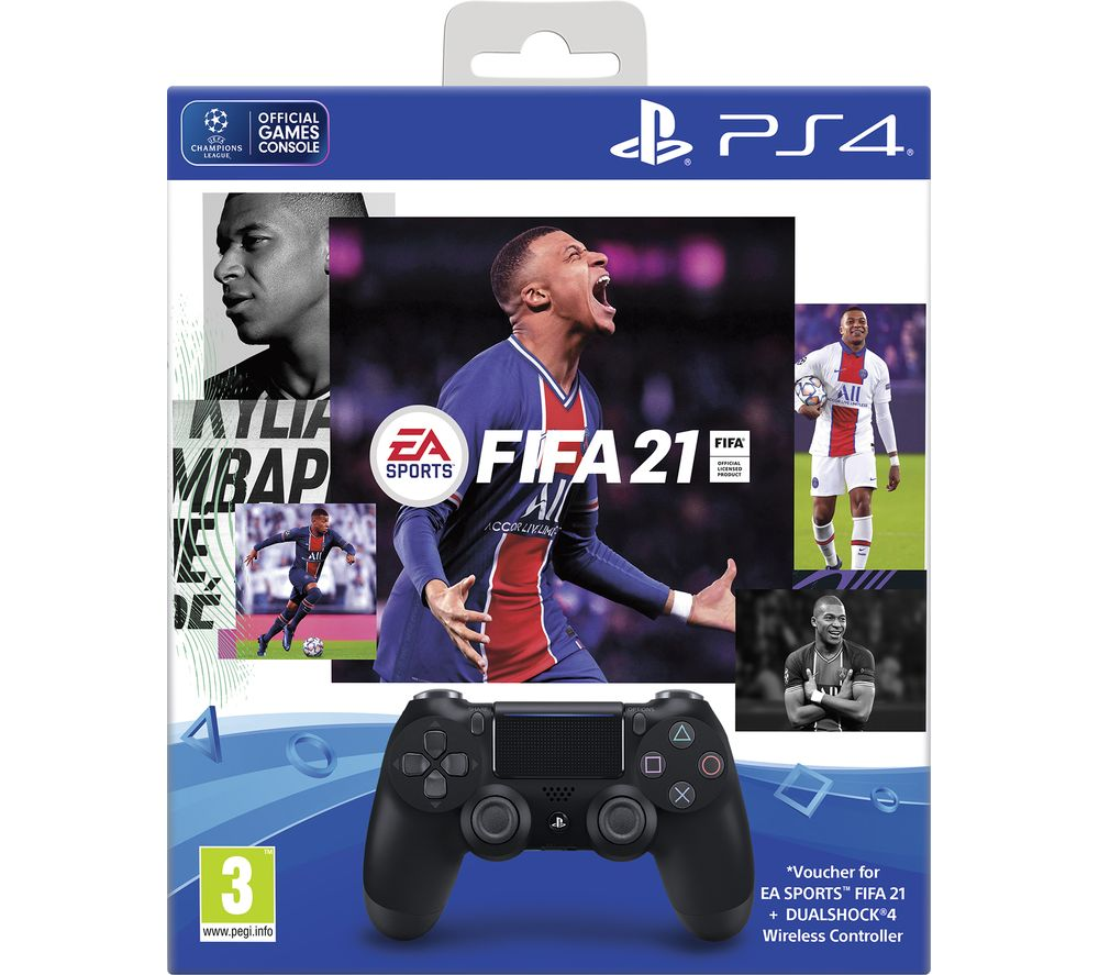 PLAYSTATION DualShock 4 Wireless Controller with FIFA 21 - Black, Black