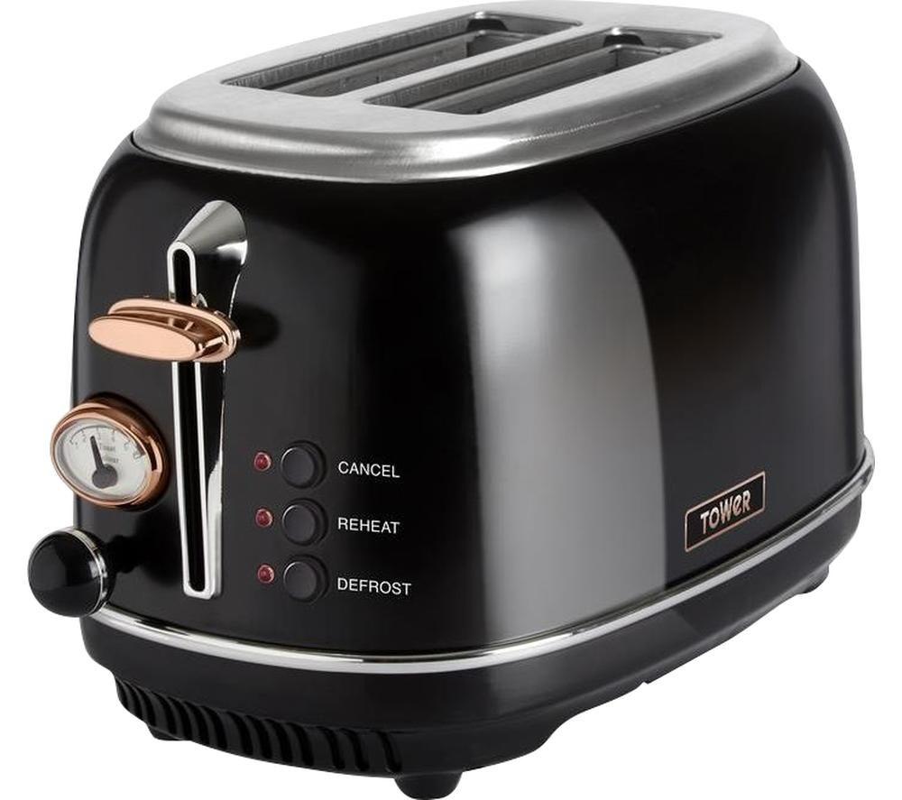 TOWER Bottega T20016 2-Slice Toaster - Black, Black