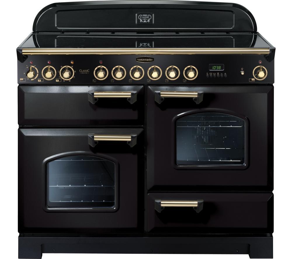 RANGEMASTER Classic Deluxe 110 Electric Ceramic Range Cooker – Black & Brass, Black