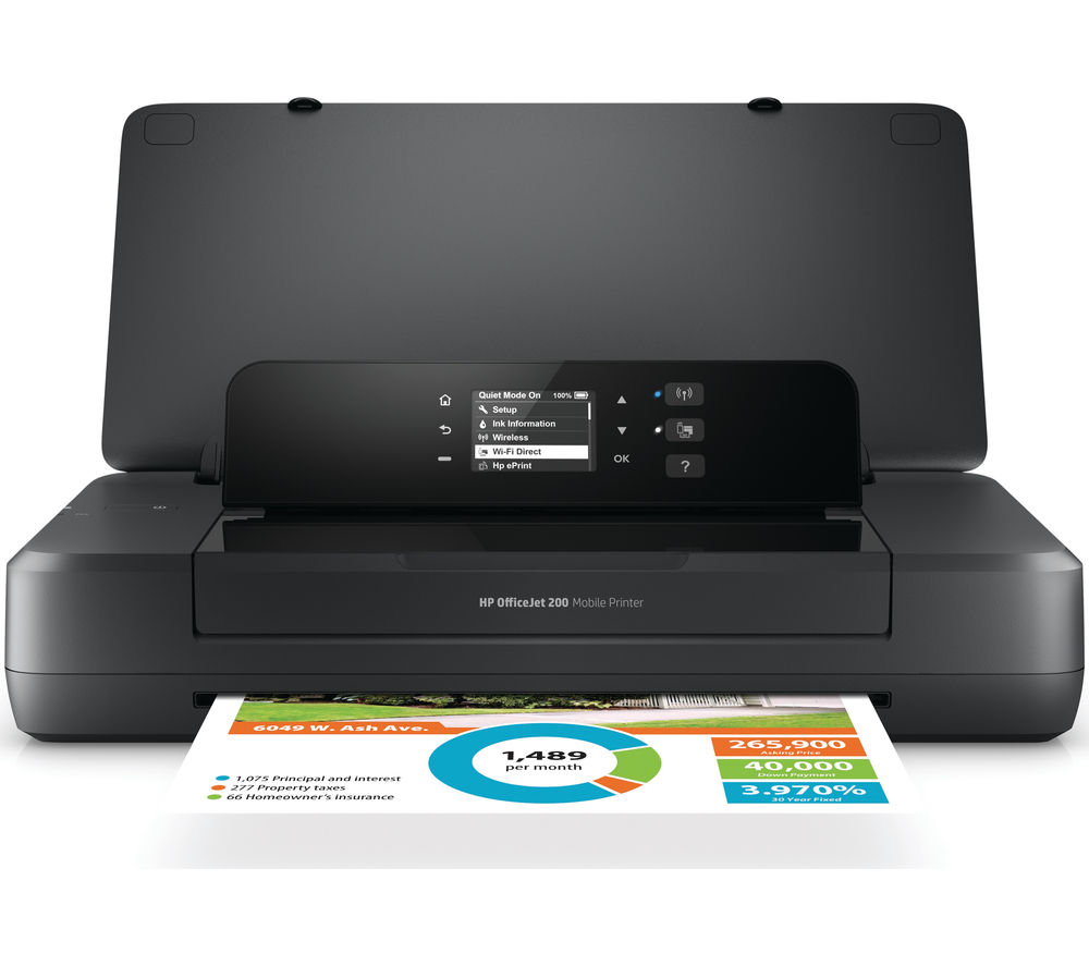 HP OfficeJet 200 Mobile Wireless Printer + 62 Black & Tri-colour Ink Cartridges - Twin Pack